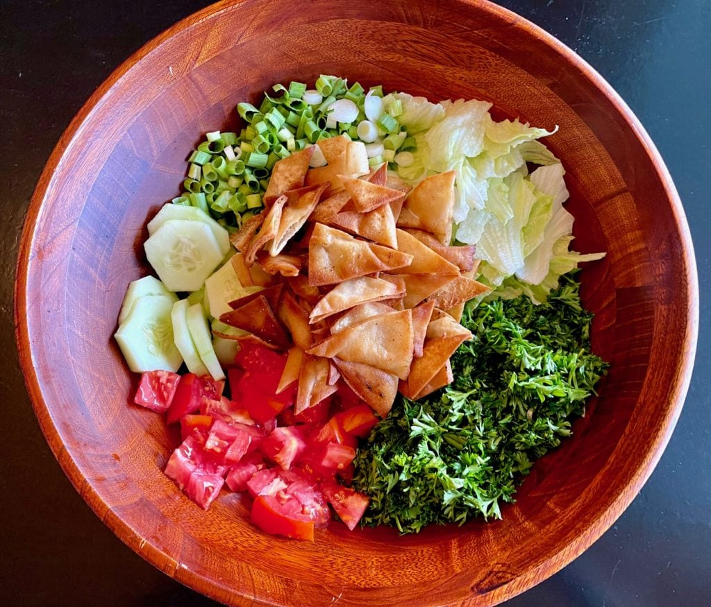 Arabic Salad with homemade fried pita chips also know as fatoosh