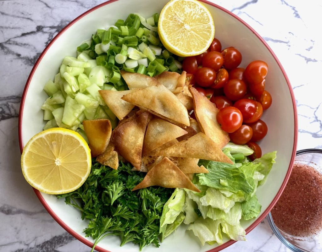 Middle Eastern salad with homemade Mediterranean salad dressing
