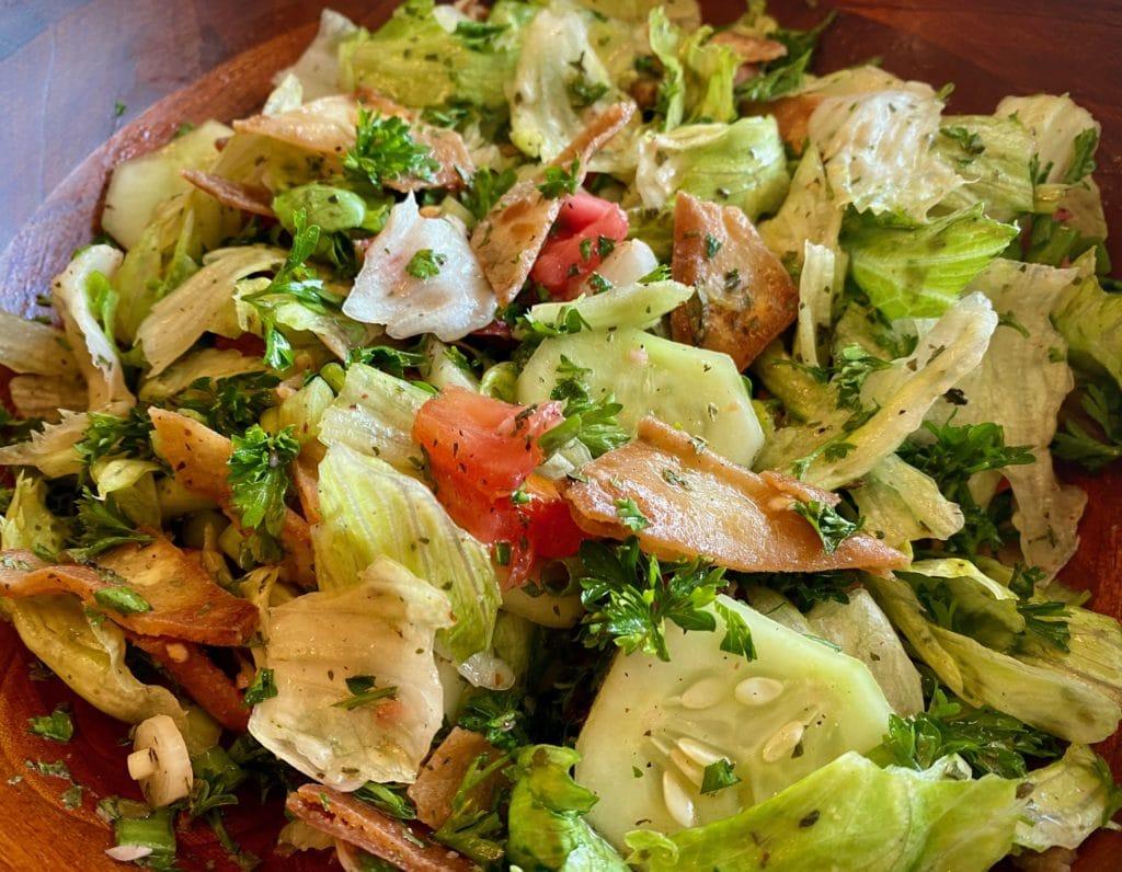 Pita chip salad called fattoush is a Mediterranean chopped salad