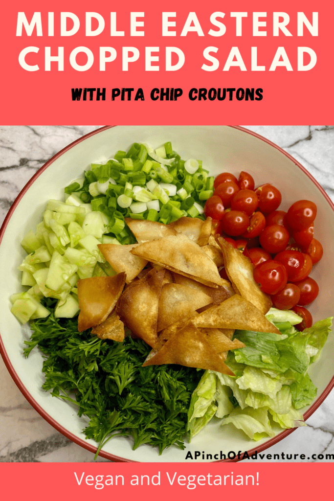This Mediterranean salad recipe is delicious and fresh and made with homemade fried pita chips. It is the perfect chopped salad recipe and healthy as well. Full of fresh ingredients it is a staple of Middle Eastern recipes that leaves you feeling good. Mediterranean recipes are delightful and flavorful. If you are looking for Mediterranean Diet recipes, put this on the list. This is a classic and authentic Lebanese Salad recipe