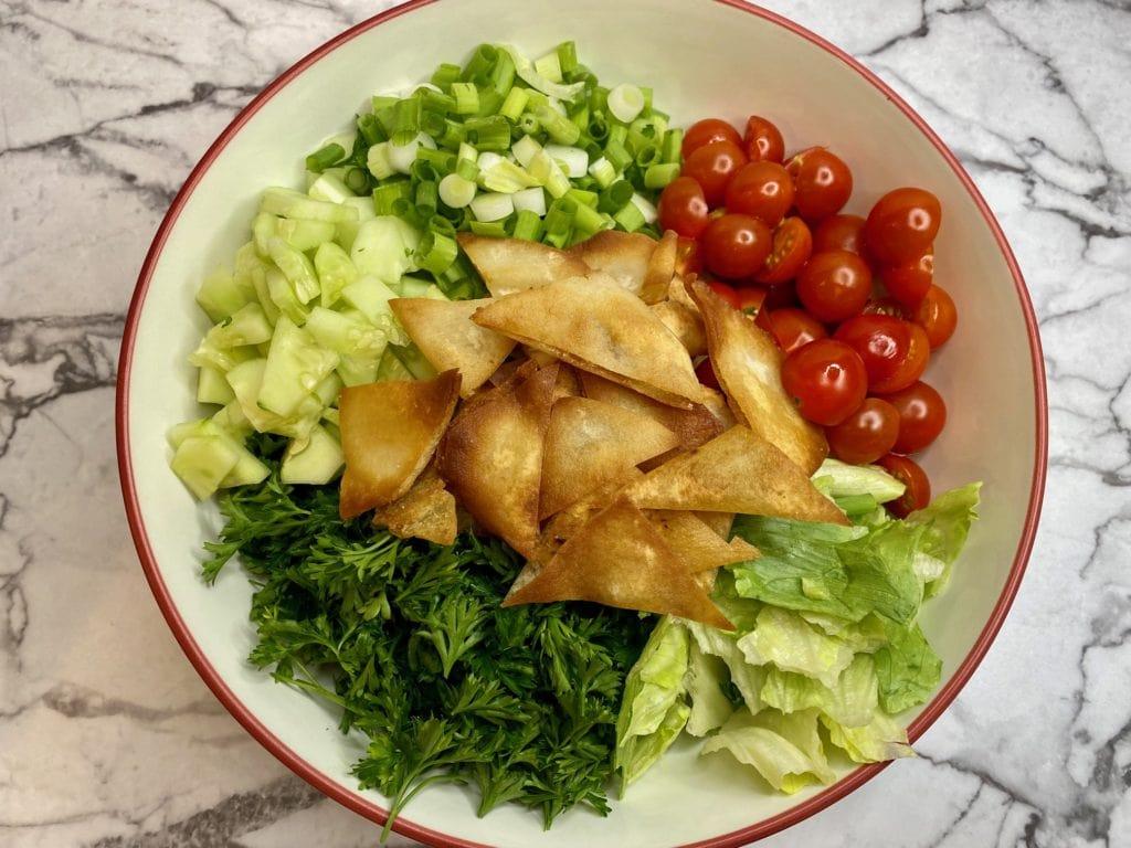 Lebanese Fattoush with Mediterranean salad dressing recipe