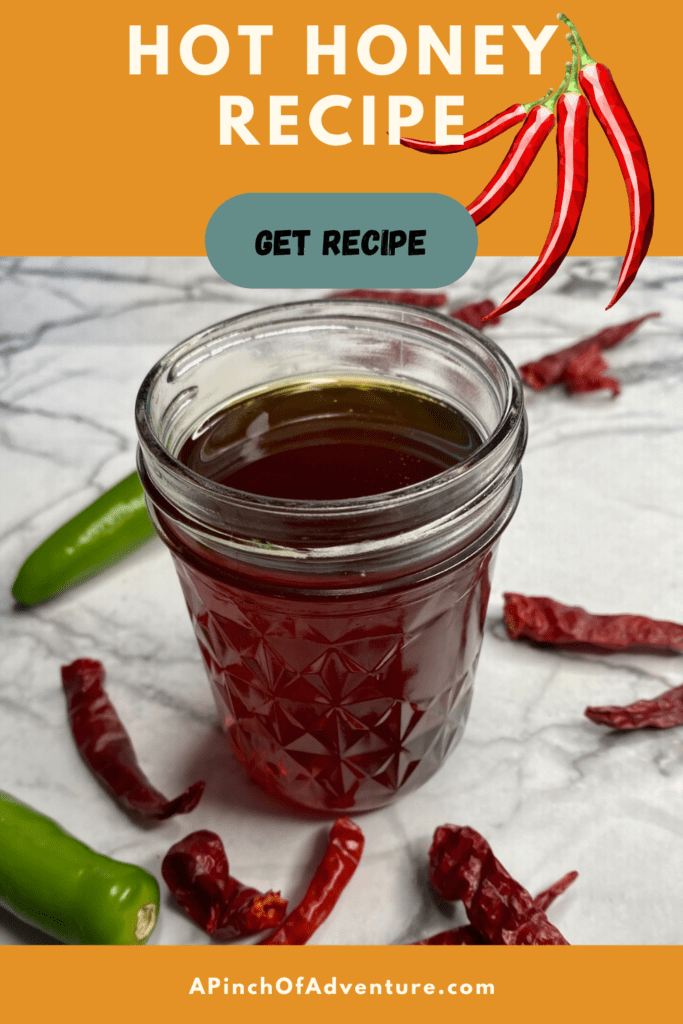 This hot honey recipe is sweet and spicy and is the perfect hot pepper infused honey! Spicy honey is the perfect addition to biscuits, chicken and waffles, fried chicken and of course pizza and hot honey. Use it as a spicy honey sauce for dips or for a hot honey sauce for spread as well and it is the perfect addition to a cheese board! This is a Mike's hot honey copycat recipe which is a chili pepper infused honey complete with tutorial of house to infuse honey.