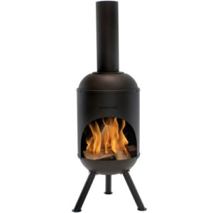 5 foot steel chiminea for deck and patio decor, fireplace and patio