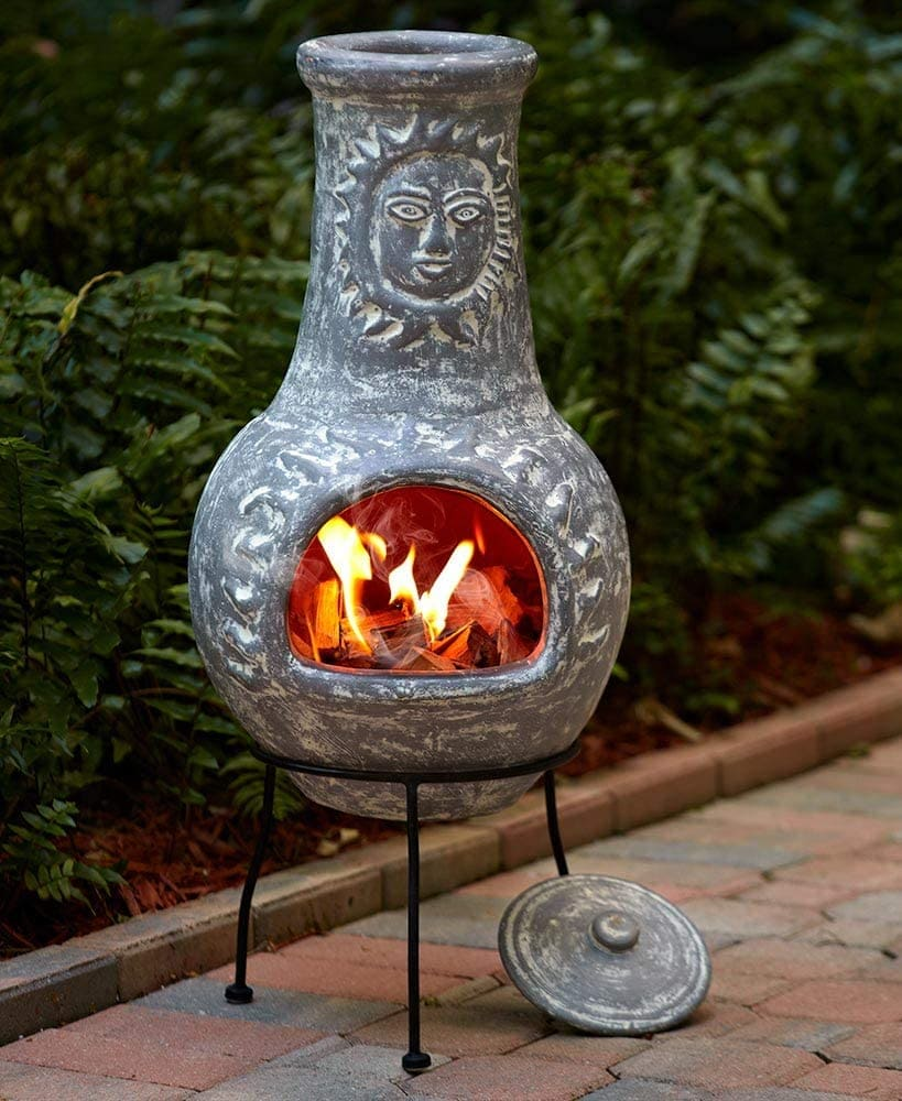 Clay chiminea for deck and patio