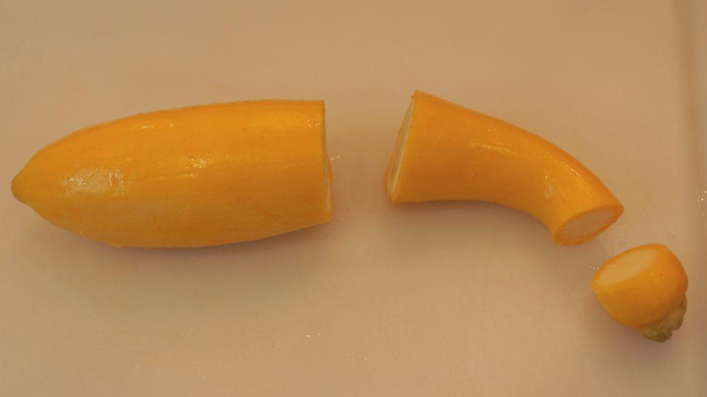 How to cut yellow squash for stuffed squash boats and making koosa recipe