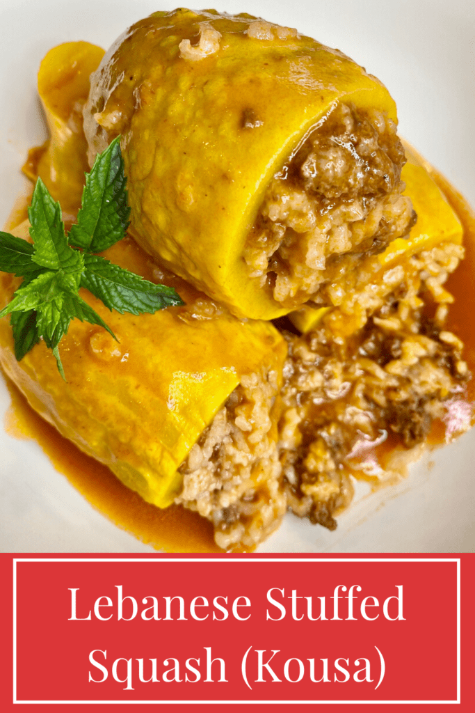 If you are looking for the best squash recipes, look no further. This ground beef stuffed yellow squash recipe is healthy, delicious and gluten free and dairy free. This Lebanese yellow squash dinner recipe is squash stuffed with ground beef and rice and cooked in tomato sauce with Middle Eastern spices. Kousa Squash or kousa mahshi recipe is the perfect fit for a Mediterranean diet recipe with ground beef or lamb. Dinner recipes with summer squash have never been tastier!