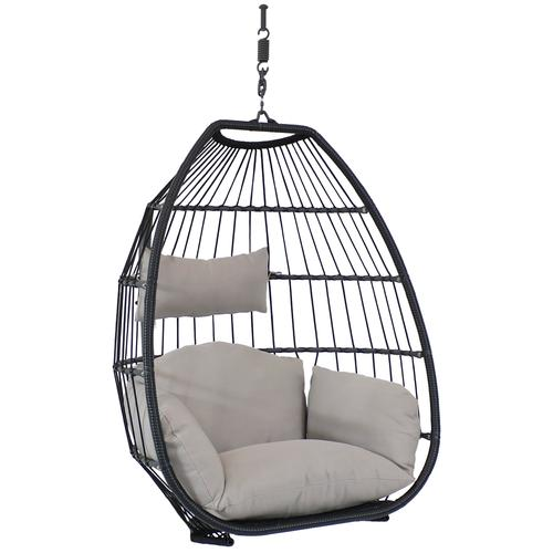 Comfortable Hanging Egg Chair, for backyard entertainment in a backyard oasis