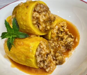 Lebanese stuffed squash, or Lebanese kousa squash is stuffed with ground beef and rice mahshi