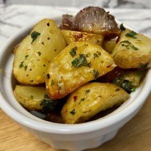 Batata Harra with potato medley