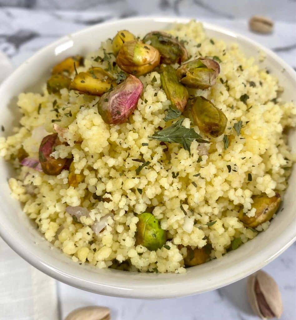 Mediterranean couscous, couscous recipe Mediterranean with lemon mint dressing