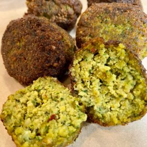 pan fried falafel, homemade falafel recipe, as you can see it is fluffy falafel