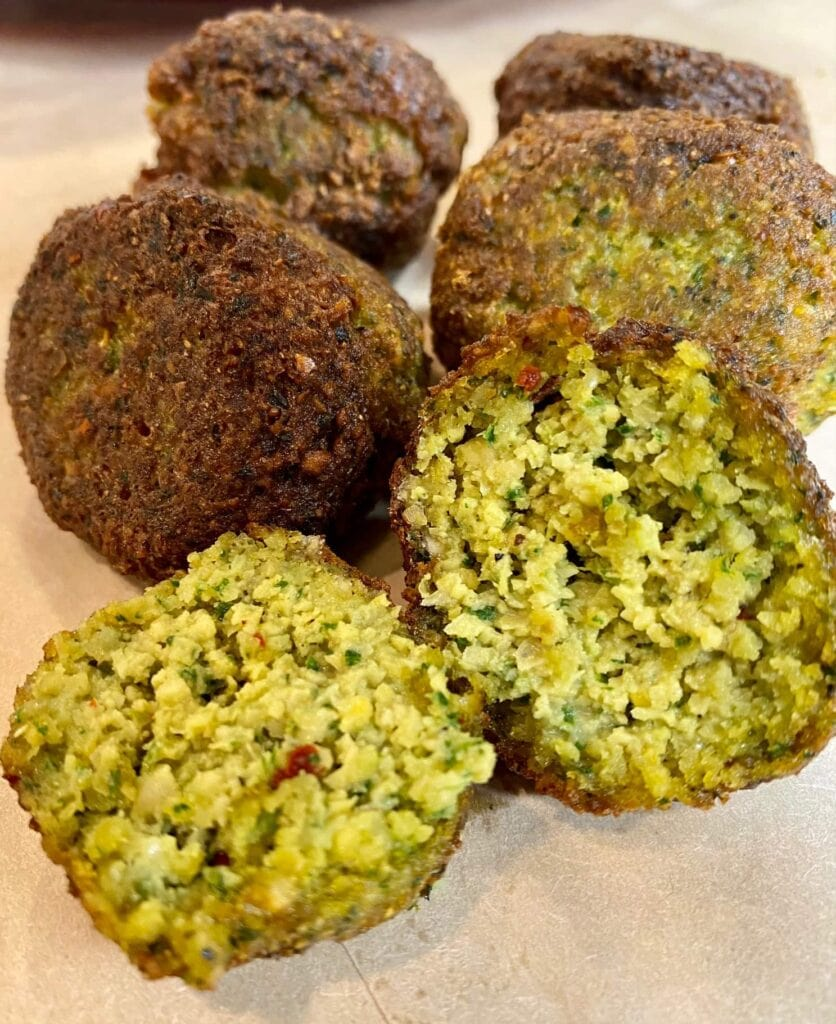 pan fried falafel, homemade crispy falafel recipe, as you can see it is fluffy