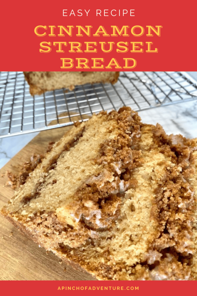 Cinnamon Streusel Bread with cinnamon streusel topping is an easy cinnamon quick bread recipe that is perfect! This easy cinnamon roll bread is made without yeast and it is a no knead recipe! Cinnamon quick bread is delicious and the perfect breakfast idea. This recipe can also easily be turned into cinnamon streusel muffins. The cinnamon streusel topping is an extra crumbly streusel topping and is perfect for many different pastries and crumb cakes as well