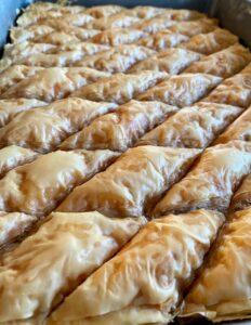 Lebanon Baklava- crispy baklava before the syrup is added