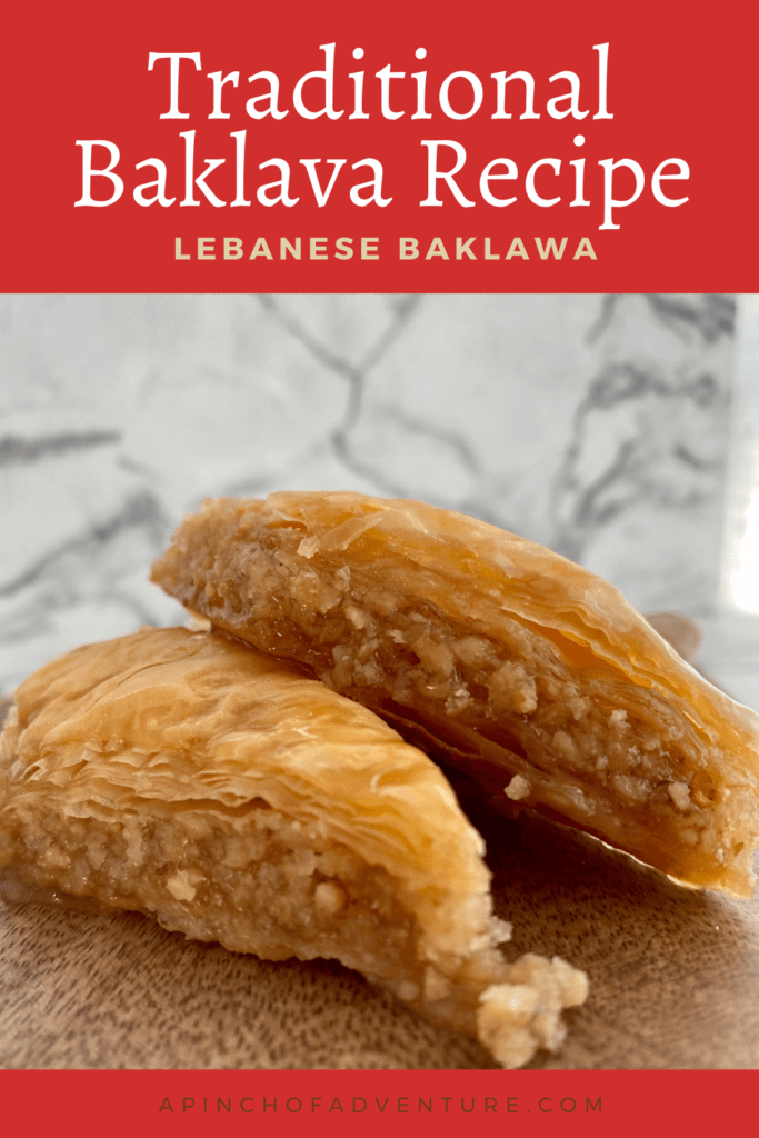This authentic baklava recipe is one the best phyllo dough recipes out there! This Middle Eastern puff pastry dessert is made with sheets of buttered filo dough and a delicious nut filling. Lebanese Baklawa is different from Greek baklava because it is drizzled with a homemade simple syrup recipe as opposed to honey. Baklava with walnuts is a traditional way of making baklava