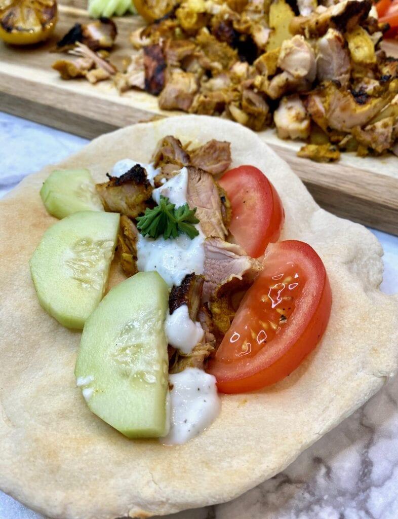 Chicken Shawarma Sandwich on Shawarma pita