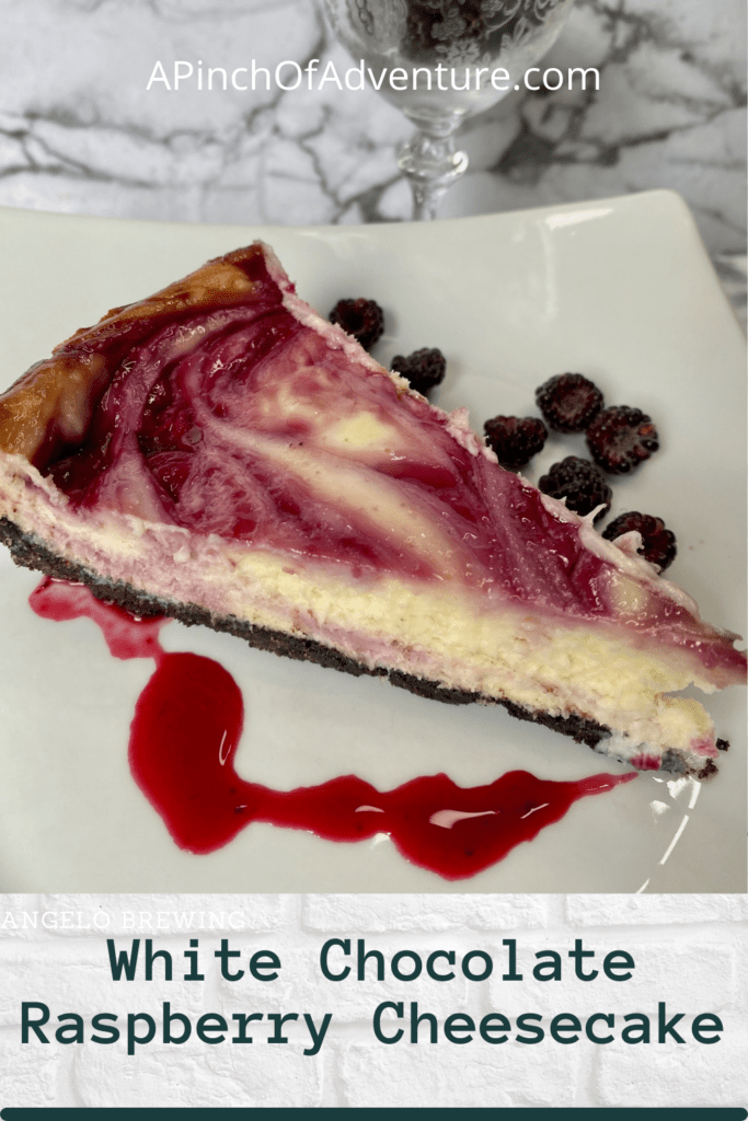 Looking for a raspberry dessert recipes? Look no further than this white chocolate raspberry cheesecake with Oreo crust. This can either be a black raspberry dessert recipe or it can be an idea for dessert with red raspberries. This white chocolate cheesecake with raspberry sauce is divine and rich and is the BEST white chocolate raspberry cheesecake recipe. You have to make this raspberry swirl. Complete with homemade raspberry topping