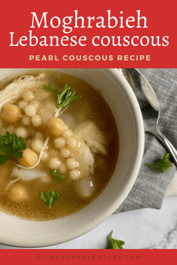 This easy moghrabieh recipe is the best Lebanese couscous recipe ever! This Lebanese stew is made with moghrabieh pearls, chicken, chickpeas and warm spices. Similar to Israeli couscous, these large couscous pearls are a wonderful part of this Lebanese recipe. Make this moghrabieh recipe Lebanese with the warm spices, perfect for a cols night. If you are looking for an idea for pearl couscous recipes, will show you how to cook Lebanese couscous