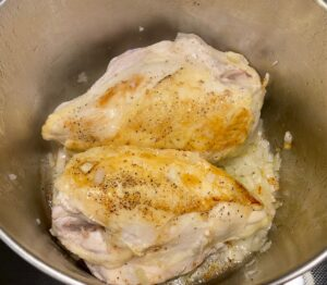Browning chicken with onions
